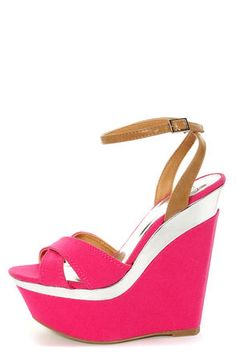 #Fuchsia and Silver #Platform #Wedges $22 Get 7% Cash Back http://www.studentrate.com/itp/get-itp-student-deals/lulu-s-Student-Discount--/0