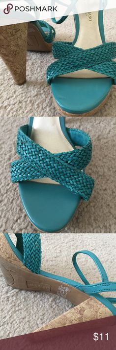 "Christian Siriano for Payless Strappy Sandals 7 Pretty turquoise strappy heeled sandals from Christian Siriano! Seabed straps, cork platform and heel. Slight wear to upper, but not much wear to soles. Good condition used sandals. 4"" heel, 1/2"" platform. Christian Siriano Shoes Heels"