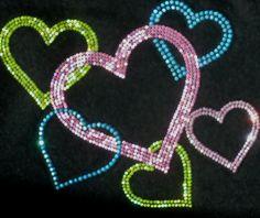 Hearts Love Valentine hot fix iron on rhinestone TRANSFER