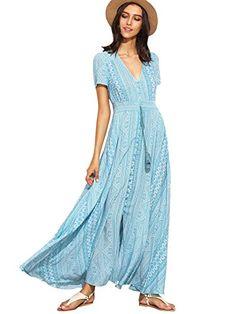 1d38cf636196 Fabric  Fabric has no stretch Season  Summer Type  Shirt Pattern Type   Geometric Sleeve Length  Short Sleeve Color  Blue Dresses Length  Maxi  Style  Vintage ...