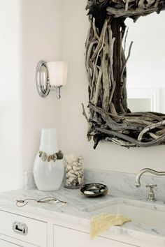 Driftwood mirror frame - pretty, but it looks like it would be a pain to try and keep clean, dust wise. Bathroom Sconces, Wall Sconces, Bathroom Ideas, Washroom, Bath Ideas, Twigs Decor, Bathroom Lighting Design, Hamptons Decor, Driftwood Mirror