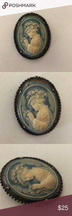 Vintage Lady Cameo Pendant/ Brooch. Vintage Lady Cameo Pendant or Brooch your choice. Antique Silver w Lively Cream Colored Victorian Lady w a Light Blue Background. Vintage Jewelry Brooches