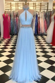Classy Prom Dresses, Light Blue Beaded Prom Dress,High Neck Two Piece Prom Dresses,Split Formal Dress,Blue Evening Dresses Prom Dresses Long Prom Dresses Two Piece, Cute Prom Dresses, Blue Evening Dresses, Prom Dresses 2018, Pretty Dresses, Evening Gowns, Formal Dresses, Evening Party, Dance Dresses