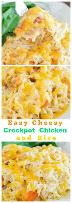 Easy Cheesy Chicken and Rice in the Crockpot