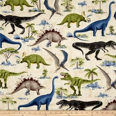 Timeless Treasures Dinosaur Scenic Dinosaur from @fabricdotcom  From Timeless Treasures, this cotton print fabric features prehistoric dinosaurs and is perfect for quilting, apparel and home decor accents. Colors include black, charcoal, grey, shades of blue and green, taupe, yellow and dark taupe.