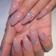 Nude. Almond nails. Diamonds