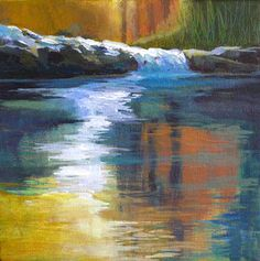 Daily Painters Abstract Gallery: 'Autumnal Reflections' Original Contemporary Waterscape Acrylic Painting by Melody Cleary, Oregon Artist