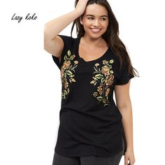 Lazy KoKo Plus Size New Fashion Women Clothing Casual Short Sleeve O-Neck Tops Floral Print  Big Size T-shirt 3XL 4XL 5XL 6XL #Affiliate