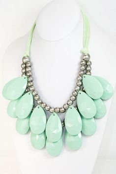 Mint Teardrop Bubble Necklace