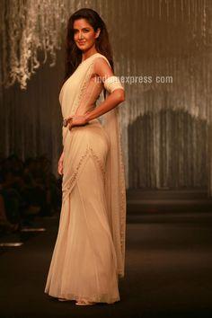 Katrina Kaif posing on the ramp for designer Tarun Tahiliani's spring-summer 2016 line. #Bollywood #Fashion #Style #Beauty #Hot #Sexy #Desi #Saree