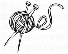 White Yarn Ball With Knitting Needles Clip Art Knitting Needles, Knitting Yarn, Free Knitting, Knitting Patterns, Needles Art, Knitting Tattoo, Yarn Tattoo, Strick Tattoo, Knitting Quotes