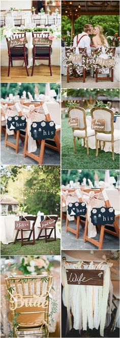 rustic signage wedding chair decors / http://www.deerpearlflowers.com/30-signage-wedding-chair-decor-ideas-we-love/