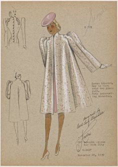 From New York Public Library Digital Collections. Fashion Design Classes, Fashion Design Drawings, Fashion Project, Fashion Illustration Sketches, Fashion Sketches, Vintage Sewing Patterns, Clothing Patterns, Costume Design Sketch, Fashion Art