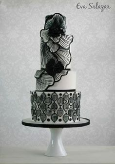 Recently I made this black and white cake all free hand painted directly on the cake. It was so much fun and stressful to make it lol. Hope yo like it! Black And White Wedding Cake, Black Wedding Cakes, Beautiful Wedding Cakes, Gorgeous Cakes, Pretty Cakes, Amazing Cakes, Modern Cakes, Unique Cakes, Elegant Cakes