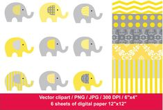 22-JDI/ Clip Art Elephants / Yellow & Gray by JulyDigitalImages