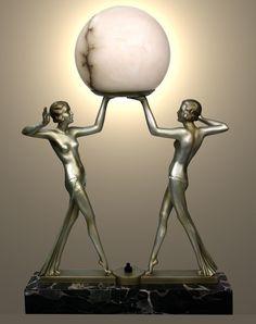 "Art Deco Double Figure Spelter Lamp €1995 ($2595) 19.5"" / 49.5cm high c 1930"