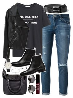"""Outfit with a leather jacket for spring"" by ferned ❤ liked on Polyvore featuring AG Adriano Goldschmied, MANGO, Acne Studios, Status Anxiety, Balenciaga, Zimmermann and Illesteva"