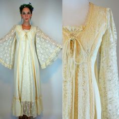 VTG 70s BOHO Hippie Tiered Wedding Maxi Dress Sheer Lace Angel Sleeve Draped XS