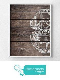 Scuba Art, Vintage Scuba Decor, Nautical Bathroom, Rustic Nautical Print, Scuba Diver Print, Nautical Decor, Nautical Nursery, Beach Art, Beach Decor - NOT REAL WOOD from Lotus Leaf Creations https://www.amazon.com/dp/B016YSG7ZI/ref=hnd_sw_r_pi_dp_Iy2Twb8KKPP0J #handmadeatamazon