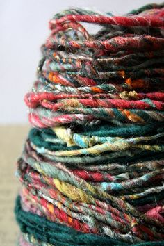 beautiful handspun - I'd like to end up with something like this one day. Yarn Thread, Yarn Stash, Spinning Wool, Knit Basket, Yarn Inspiration, How To Purl Knit, Yarn Projects, Sock Yarn, Textiles