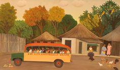 Noé León. Ruta Barranquilla - Bolívar, bus, 1970. Pintura sobre cartón. 54x89,5 cm. Colección de Arte Banco de la República.