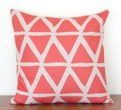 Coral Triangles Geometric Linen Cushion Cover Pillow Cover 45cmx45cm in Home, Furniture & DIY, Home Decor, Cushions | eBay