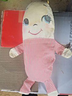 PLAKIE Toy Vintage pajama metal snap humpty dumpty pillow red white striped doll #PlakieToysInc