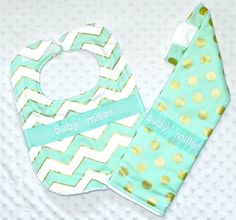 Personalized Burp Cloth and Bib Set - Mint Green and Gold Polka Dots and Chevron