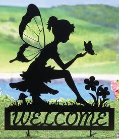 Fairy Welcome Garden Shadow Stake Kirigami, Fairy Silhouette, Fairy Jars, Metal Garden Art, Collections Etc, Iron Art, 3d Prints, Metal Projects, Yard Art