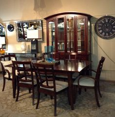 Dining Table - Dark Wood Dining Table w/ 6 Chairs,China Cabinet - $1708.95