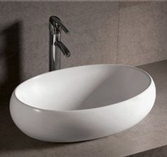 Whitehaus WHKN1091 Isabella Oval Vessel Sink with Offset Center Drain - White