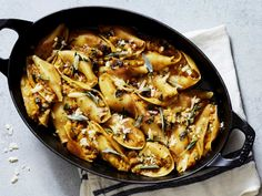 Butternut Squash and Sage Stuffed Shells. This baked pasta combines the very best flavors of fall: butternut squash and fresh sage. Prep pasta and filling the night before, and refrigerate overnight for a easy make ahead meal.