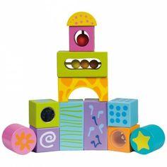 Un set de 12 blocs à construire, de la marque Boikido, pour développer l'imagination de bébé !