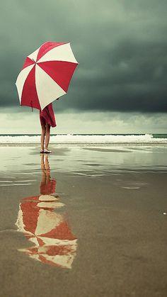 pluie sur la plage