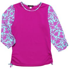 Rashguard in Bright Pink Flowers for Girls to match swimsuit and bikini