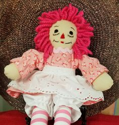 SOLD!  Raggedy Ann 10 Inch Doll Wearing Pink Calico by Fabpatterns1015 Raggedy Ann, Vintage Patterns, Harajuku, To My Daughter, My Etsy Shop, Dolls, Cancer Awareness, Breast Cancer, Instagram Posts