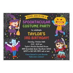 #Spring #AdoreWe #Zazzle - #Zazzle Halloween Birthday Invitation, costume party, kids Card - AdoreWe.com
