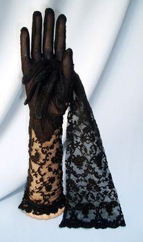 Vintage Black Lace Gloves