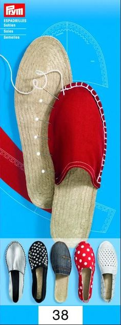 Items similar to Make your own Espadrilles shoes *soles only* Size Euro 37 (UK US Summer Shoes Sandals Shoe Repair Handmade shoes by Prym on Etsy Make Your Own Shoes, How To Make Shoes, Sewing Slippers, Sewing Lessons, Shoe Pattern, Crochet Shoes, Doll Shoes, Espadrille Shoes, Shoes Sandals