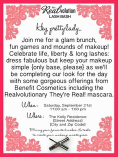 Make Up Party Invite Idea-except change to Mary Kay Cosmetics!  :)