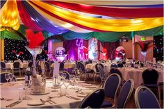 Isn't our circus set up excellent! By combining coloured draping, feather centre pieces and our backdrop/props the atmosphere is set perfectly for a circus themed evening.