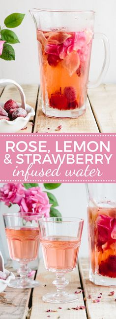 32 More Delicious Detox Water Recipes, DIY and Crafts, Best DIY Detox Waters and Recipes - Rose Lemon And Strawberry Infused Water - Homemade Detox Water Instructions and Tutorials - Lose Weight and Remove. Detox Drinks, Healthy Drinks, Healthy Recipes, Healthy Water, Healthy Detox, Detox Recipes, Fruit Detox, Detox Foods, Shake Recipes