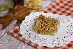 Apple Crumble Bars ~ Box of yellow cake mix, 4 fresh apples, quick oats, & brown sugar; makes a 13 x 9 pan.  #recipe #dessert