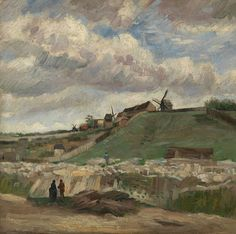 Vincent van Gogh, A cloudy Van Gogh sky at the hill of Montmartre with Stone Quarry (1886) on ArtStack #vincent-van-gogh #art