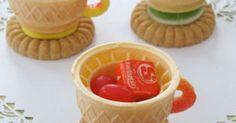 Edible teacups; ice cream cone, cookie, candies