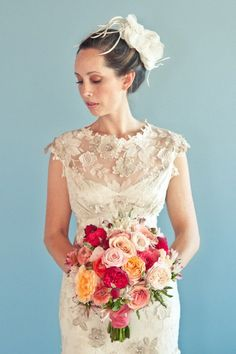 Claire Pettibone 'Eloquence' wedding gown http://www.clairepettibone.com/bridal/?cp=gowns/viola - Windsor Rose Collection by @Karen Darling Me Pretty - Photo: Natalyia Studios - Floral: Lilla Bello Studio