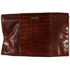 Pre-owned Rebecca Minkoff Large Envelope W/chain Strap Brown Clutch ($165) ❤ liked on Polyvore featuring bags, handbags, clutches, brown, rebecca minkoff, brown envelope clutch, croco handbag, brown purse and chain strap handbags