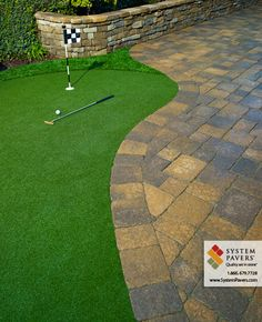 Paving Stone Retaining Wall, Putting Green Walkway by System Pavers