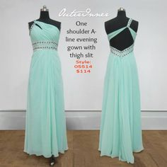 OI Daily Dress ($114/87,78€/£76.38) Gorgeous mint green evening gown, glamorous, and oh so trendy! Love it too? Shop it now: http://www.outerinner.com/one-shoulder-a-line-floor-length-sleeveless-evening-wear-pd-05514-0.html?k=05514   #eveninggown #dresses #mintgreen #outerinner
