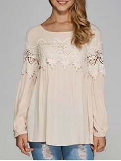 GET $50 NOW | Join RoseGal: Get YOUR $50 NOW!http://www.rosegal.com/blouses/openwork-lace-chiffon-blouse-731063.html?seid=6821829rg731063